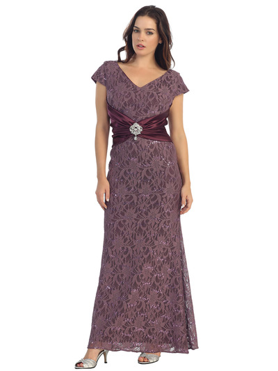 E2003 Lace and Satin Cap Sleeve Evening Dress - Plum, Front View Medium