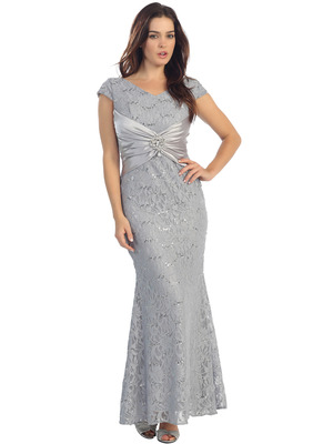 E2003 Lace and Satin Cap Sleeve Evening Dress, Silver