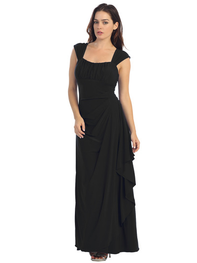 E2014 Pleated Bust Warp Skip Knitted Evening Dress - Black, Front View Medium