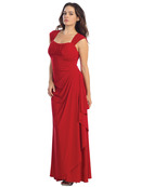 E2014 Pleated Bust Warp Skip Knitted Evening Dress, Red