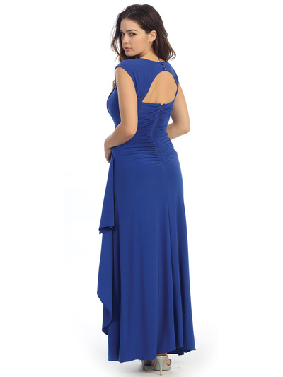 E2014 Pleated Bust Warp Skip Knitted Evening Dress - Royal, Back View Medium