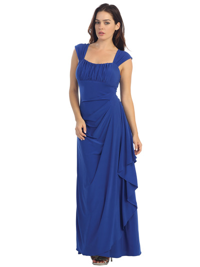 E2014 Pleated Bust Warp Skip Knitted Evening Dress - Royal, Front View Medium