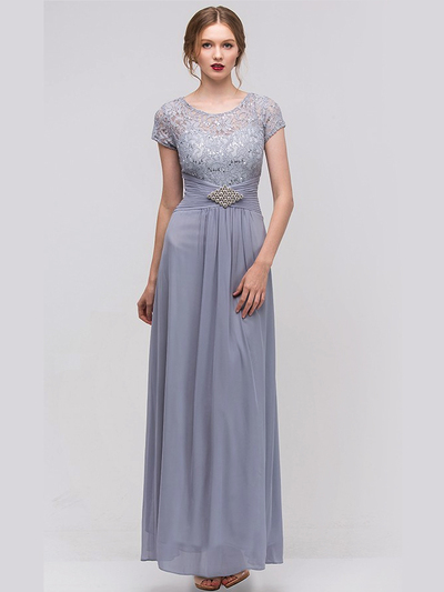E2023-1 Lace Top Cap Sleeves Evening Dress - Silver, Front View Medium