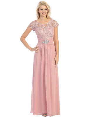 E2023-1 Lace Top Cap Sleeves Evening Dress, Dusty Rose