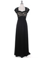 E2025 Empired Waist Cap Sleeve Lace Top Evening Dress - Black Gold, Front View Thumbnail