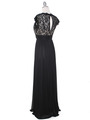 E2025 Empired Waist Cap Sleeve Lace Top Evening Dress - Black Gold, Back View Thumbnail