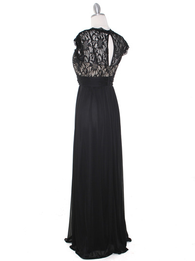 E2025 Empired Waist Cap Sleeve Lace Top Evening Dress - Black Gold, Back View Medium