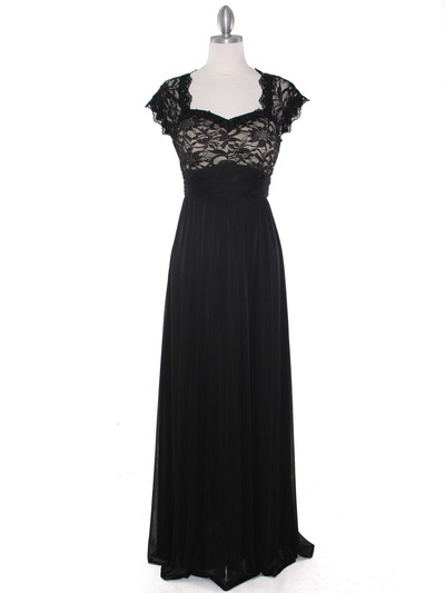 E2025 Empired Waist Cap Sleeve Lace Top Evening Dress - Black Gold, Front View Medium