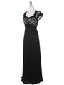 E2025 Empired Waist Cap Sleeve Lace Top Evening Dress - Black Gold, Alt View Thumbnail