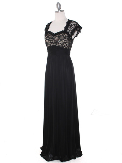 E2025 Empired Waist Cap Sleeve Lace Top Evening Dress - Black Gold, Alt View Medium