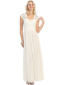 E2025 Empired Waist Cap Sleeve Lace Top Evening Dress - Ivory, Front View Thumbnail