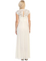 E2025 Empired Waist Cap Sleeve Lace Top Evening Dress - Ivory, Back View Thumbnail