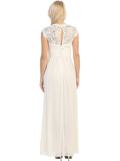 E2025 Empired Waist Cap Sleeve Lace Top Evening Dress - Ivory, Back View Medium