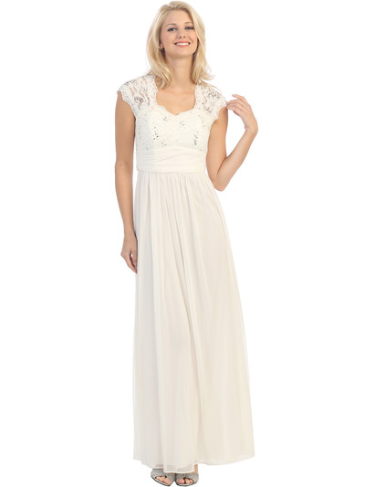 E2025 Empired Waist Cap Sleeve Lace Top Evening Dress - Ivory, Front View Medium