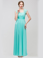 E2025 Empired Waist Cap Sleeve Lace Top Evening Dress - Mint, Front View Thumbnail