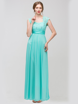 E2025 Empired Waist Cap Sleeve Lace Top Evening Dress, Mint
