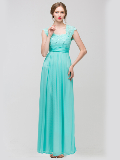 E2025 Empired Waist Cap Sleeve Lace Top Evening Dress - Mint, Front View Medium