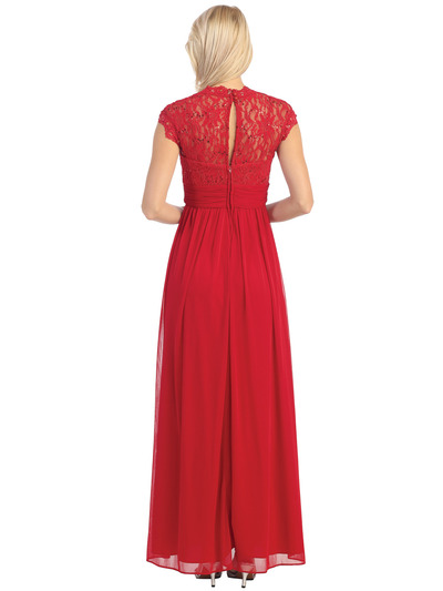 E2025 Empired Waist Cap Sleeve Lace Top Evening Dress - Red, Back View Medium