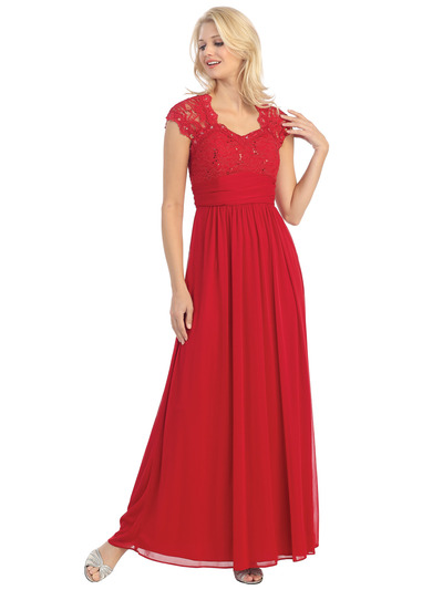 E2025 Empired Waist Cap Sleeve Lace Top Evening Dress - Red, Front View Medium