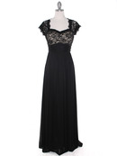 Empired Waist Cap Sleeve Lace Top Evening Dress