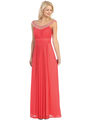 E2027 Jeweled Neckline Evening Dress - Coral, Front View Thumbnail
