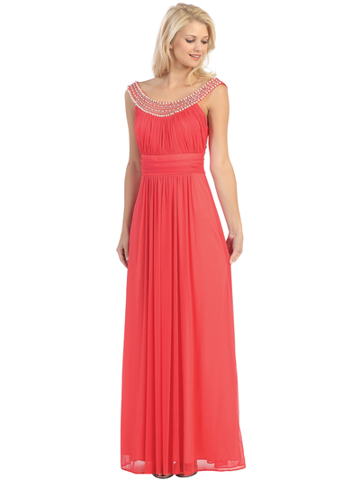E2027 Jeweled Neckline Evening Dress - Coral, Front View Medium