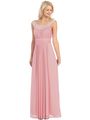 E2027 Jeweled Neckline Evening Dress - Dust Pink, Front View Thumbnail