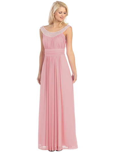 E2027 Jeweled Neckline Evening Dress - Dust Pink, Front View Medium