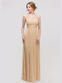 E2027 Jeweled Neckline Evening Dress - Gold, Front View Thumbnail