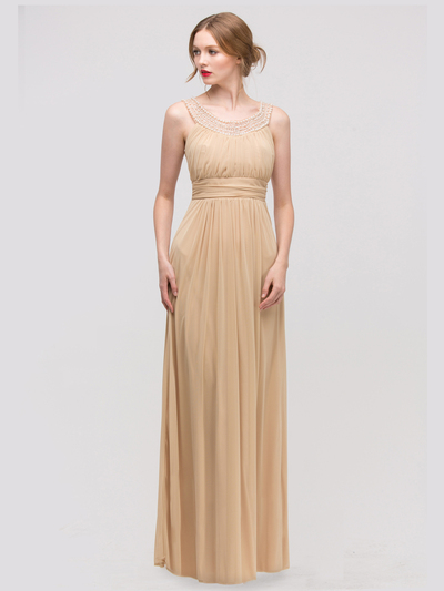 E2027 Jeweled Neckline Evening Dress - Gold, Front View Medium