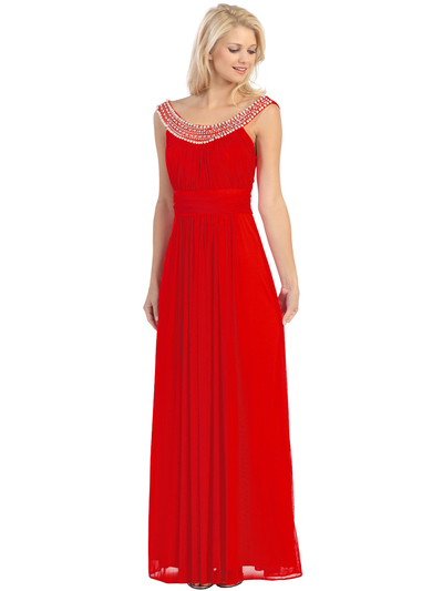 E2027 Jeweled Neckline Evening Dress - Red, Front View Medium