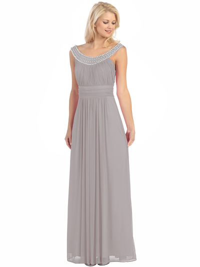 E2027 Jeweled Neckline Evening Dress - Silver, Front View Medium