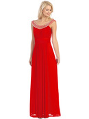 Jeweled Neckline Evening Dress
