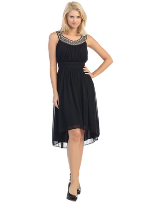 E2037 Jeweled Neckline High Low Dress, Black