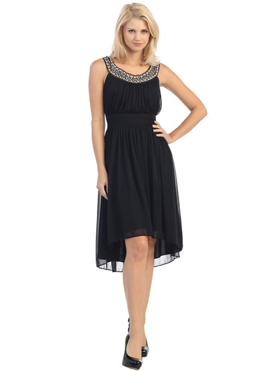 E2037 Jeweled Neckline High Low Dress - Black, Front View Medium