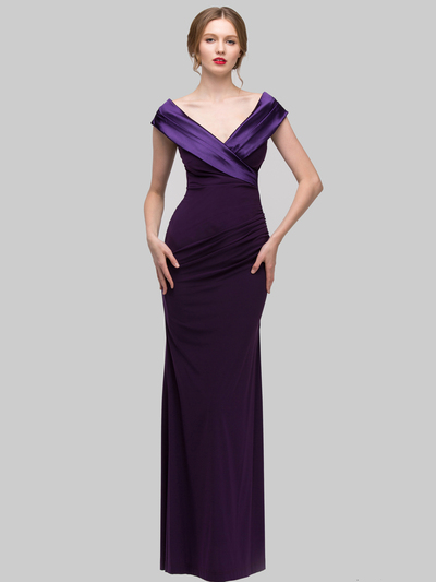 E2043 Timeless Evening Dress - Plum, Front View Medium