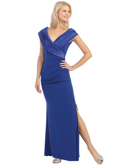 E2043 Timeless Evening Dress - Royal Blue, Front View Medium