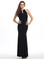 E2053 Halter Jersey Evening Dress - Black, Front View Thumbnail