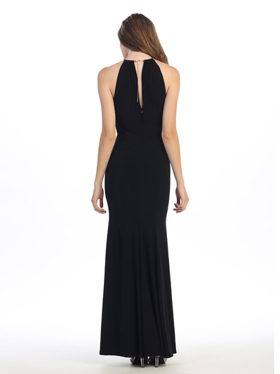 E2053 Halter Jersey Evening Dress - Black, Back View Medium