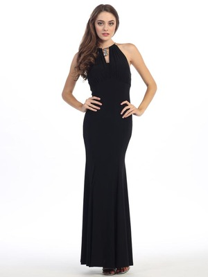 E2053 Halter Jersey Evening Dress, Black