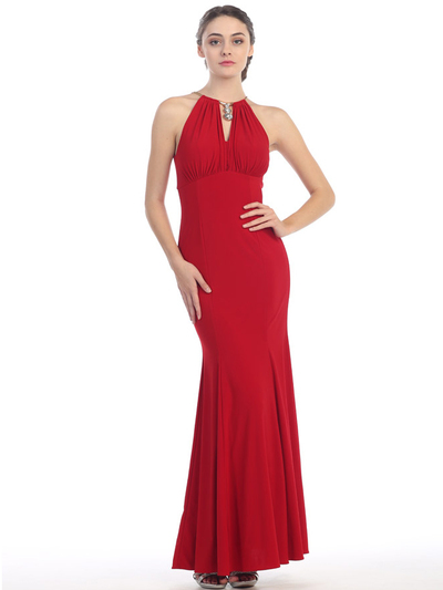 E2053 Halter Jersey Evening Dress - Red, Front View Medium