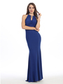 E2053 Halter Jersey Evening Dress - Royal Blue, Front View Thumbnail