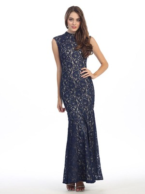 E2060 High Neck Lace Overlay Evening Dress, Navy Gold
