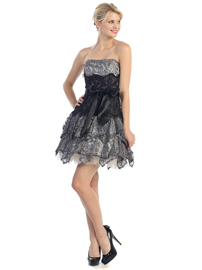 E2281 Lace Semi-Formal Cocktail Dress - Ivory Charcoal, Front View Medium