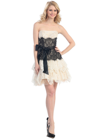 E2281 Lace Semi-Formal Cocktail Dress - Ivory Black, Front View Medium