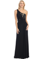 E2370 One Shoulder Twist Front Evening Dress - Black Nude, Front View Thumbnail