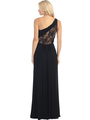 E2370 One Shoulder Twist Front Evening Dress - Black Nude, Back View Thumbnail