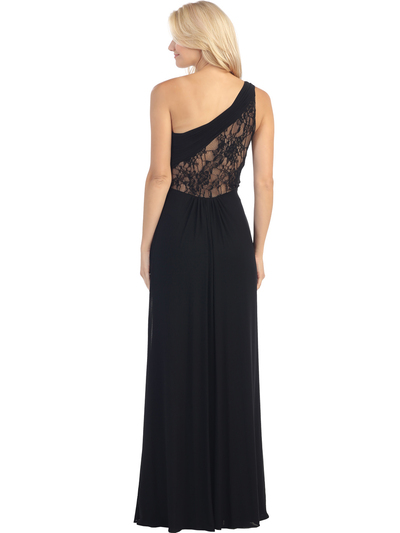 E2370 One Shoulder Twist Front Evening Dress - Black Nude, Back View Medium