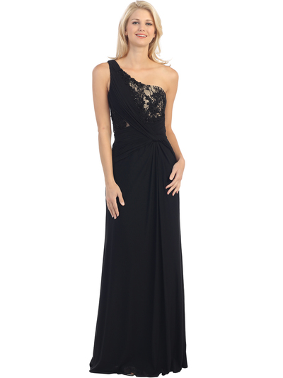 E2370 One Shoulder Twist Front Evening Dress - Black Nude, Front View Medium