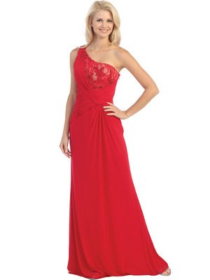 E2370 One Shoulder Twist Front Evening Dress, Red Nude